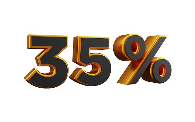 35 procent złotych ilustracji 3d. 3d złote trzydzieści pięć procent ilustracja.
