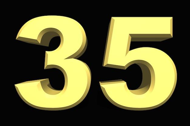 35 trzydzieści pięć cyfr 3d niebieski na ciemnym tle
