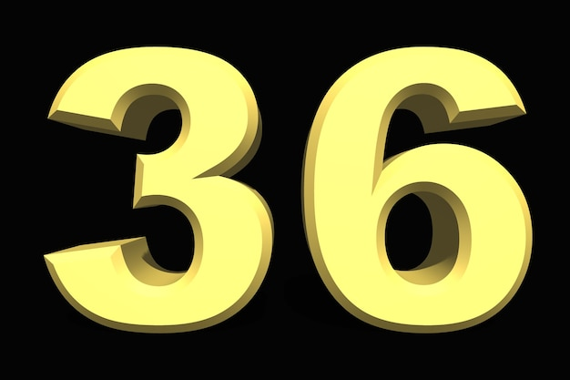 36 trzydzieści sześć numer 3d niebieski na ciemnym tle