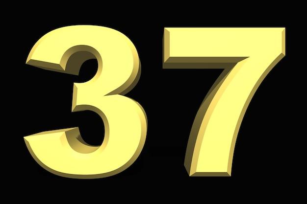 37 trzydzieści siedem numer 3d niebieski na ciemnym tle