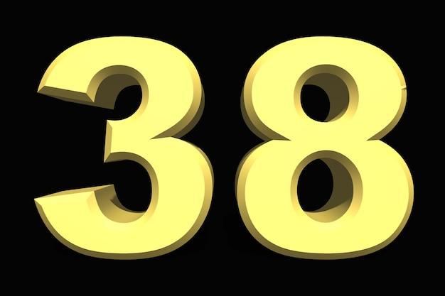 38 trzydzieści osiem cyfr 3d niebieski na ciemnym tle