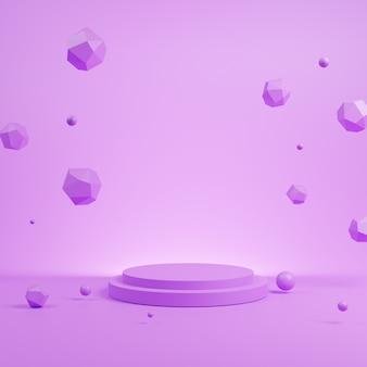 3d abstrakcjonistyczna purpurowa scena z purpurowym podium mockup.