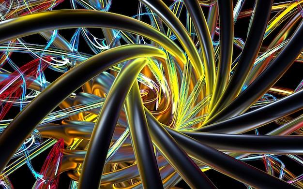 3d abstrakcjonistycznej sztuki symetrii kalejdoskopowa część kwiatu lub turbina silnik odrzutowy