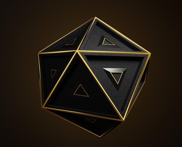 3d abstrakcjonistyczny czarny geometryczny kształt