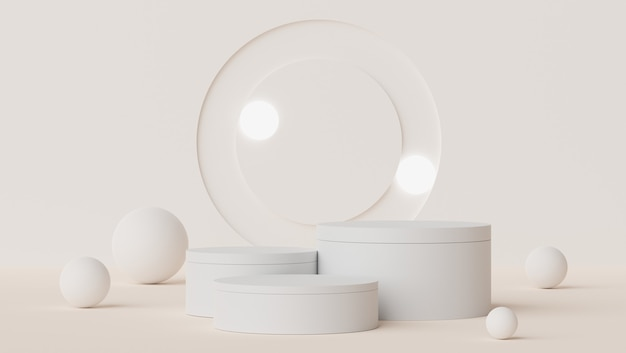 3d abstrakcyjna minimalna scena pastelowego wyświetlacza podium i prezentacji produktów kosmetycznych