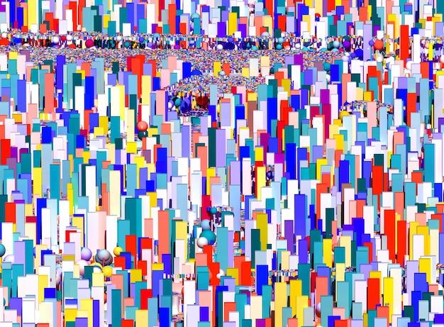 3d abstrakcyjna sztuki surrealistyczne dekoracyjne tło 3d z pejzażem na figurach geometrii