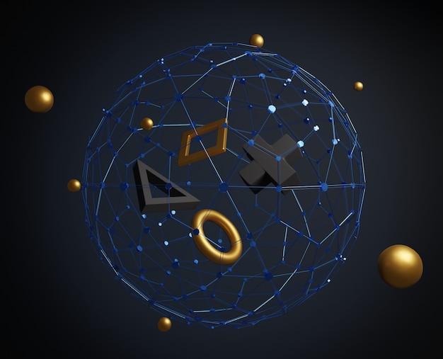 3d abstrakcyjne kształty pierwotne