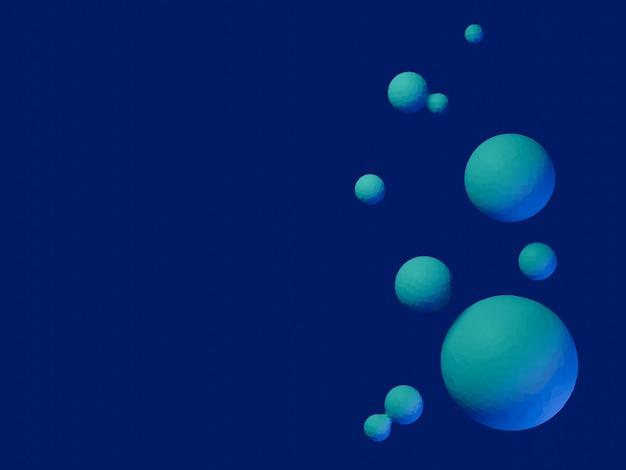 3d abstrakcyjne kule niebieski i zielony