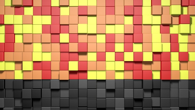 3d abstrakcyjne tło kostki czerwone, pomarańczowe, żółte i czarne