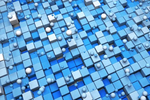 3d abstrakcyjne tło niebieskie kwadraty i okręgi