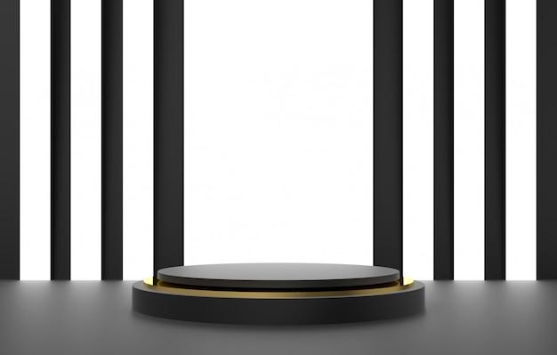 3d abstrakcyjny kształt i geometria, kolor tła etap czarno-złoty.
