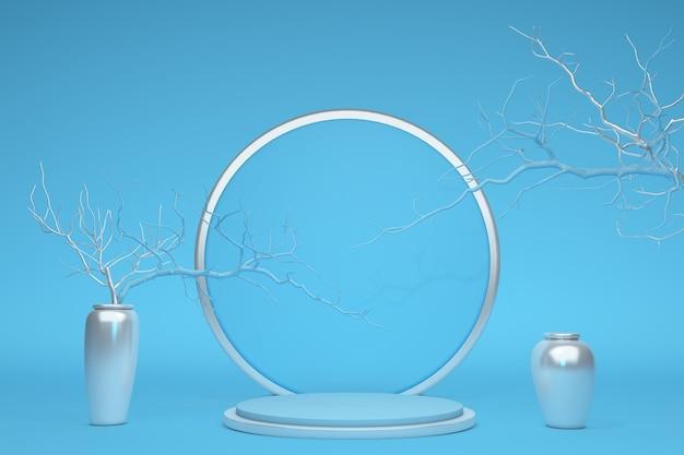 3d abstrakcyjny styl minimalna koncepcja niebieski pusty podium z gałęziami i srebrnymi wazonami na pastelowym tle do prezentacji produktów kosmetycznych promocja sprzedaży