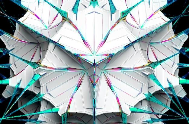 3d abstrakcyjny surrealistyczny kosmiczny futurystyczny obiekt fraktalny oparty na trójkątnym wzorze w kulistym kształcie z białego plastiku z długimi kolcami ze szkła