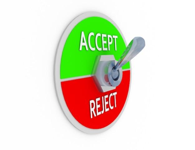 3d akceptuj przełącznik odrzucania
