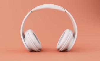 3d Białe słuchawki