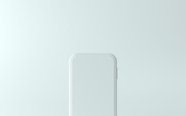 3d biała ilustracja telefonu z pustym ekranem