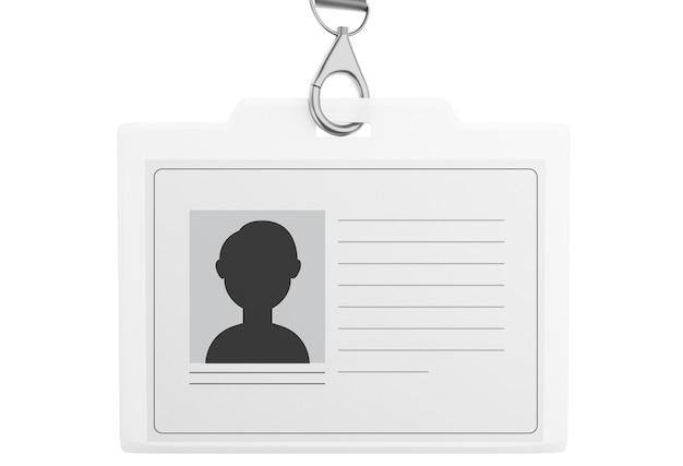 3d biała plastikowa plakietka identyfikacyjna ze smyczą