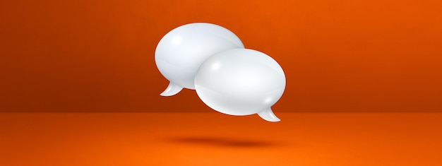 3d białe dymki na białym tle na pomarańczowym tle banera