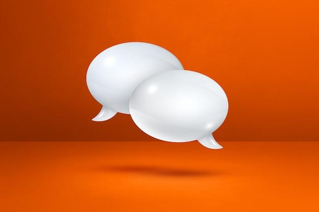 3d białe dymki na białym tle na pomarańczowym tle