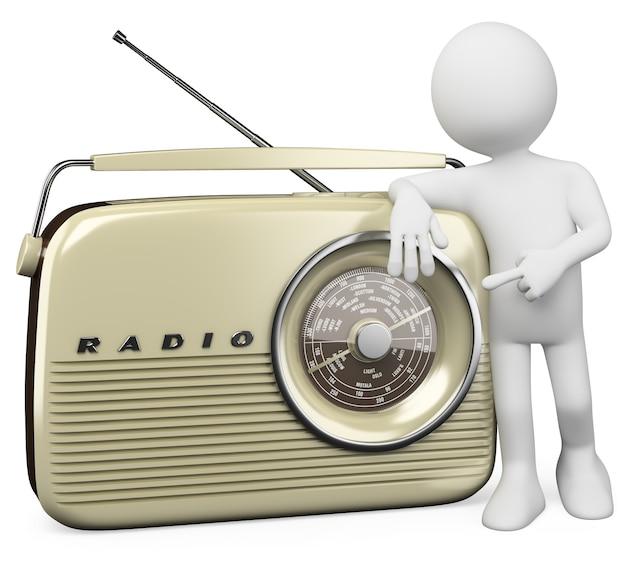 3d białe radio retro
