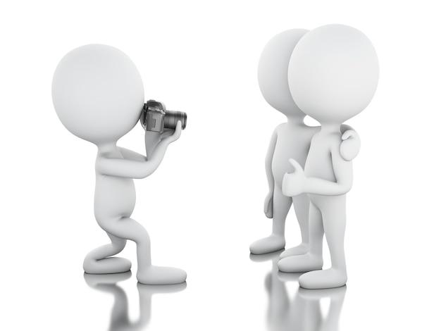 3d biali ludzie bierze obrazek z kamerą