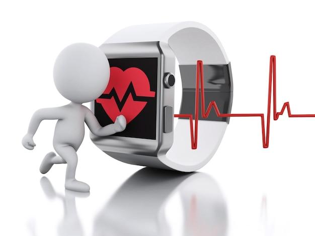 3d biali ludzie i elegancki zegarek z czerwoną zdrowie ikoną.