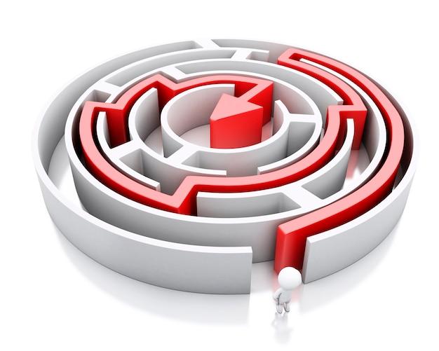 3d biali ludzie i labirynt z czerwoną strzała zaznacza trasę.