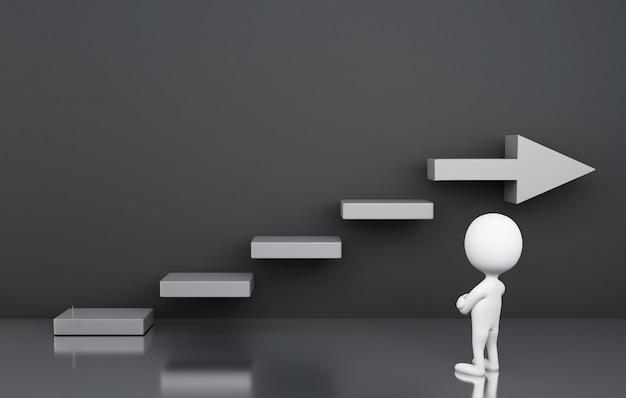 3d biali ludzie patrzeje schody zamyślenie