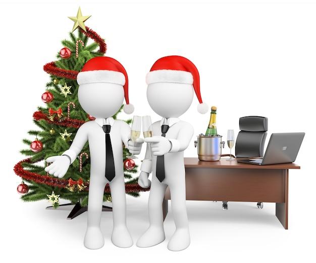 3d biali ludzie. robiąc toast w biurze na nowy rok