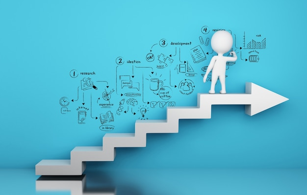 3d biali ludzie rysuje strategicznego kreatywnie proces nakreślenie
