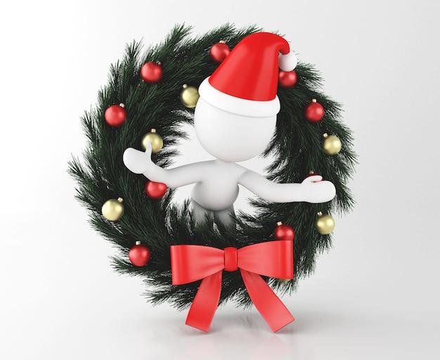 3d biali ludzie santa claus z boże narodzenie dekoracją