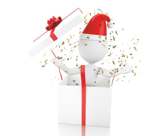 3d biali ludzie santa claus z prezenta pudełkiem.