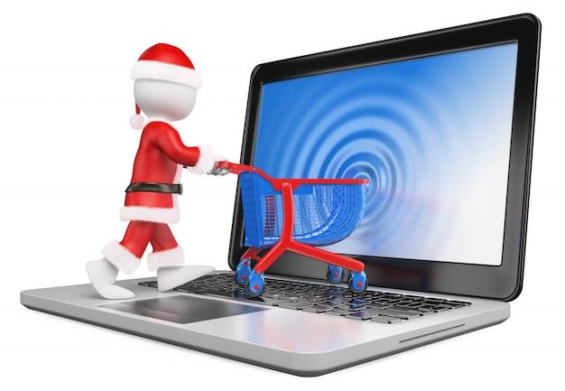 3d biali ludzie. święty mikołaj wchodzący na ekran laptopa. e-commerce