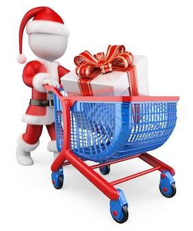 3d biali ludzie. święty mikołaj zakupy prezenty świąteczne