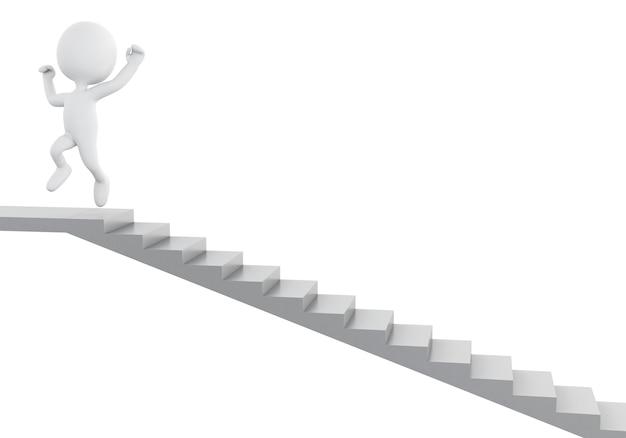 3d biali ludzie wchodzenie po schodach. sukces w biznesie.