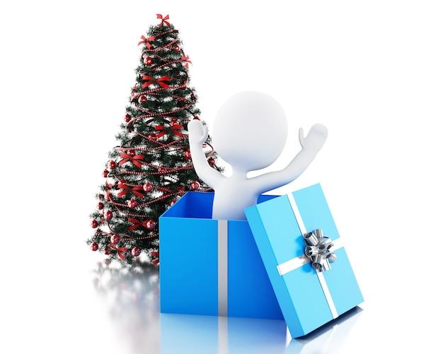 3d biali ludzie wewnątrz prezenta pudełko i choinki