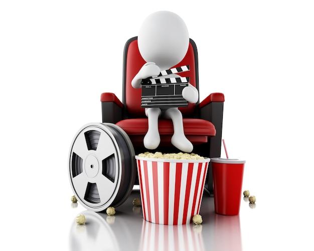 3d biali ludzie z deską grzechotką i rolka filmu na teatrze siedzenia.