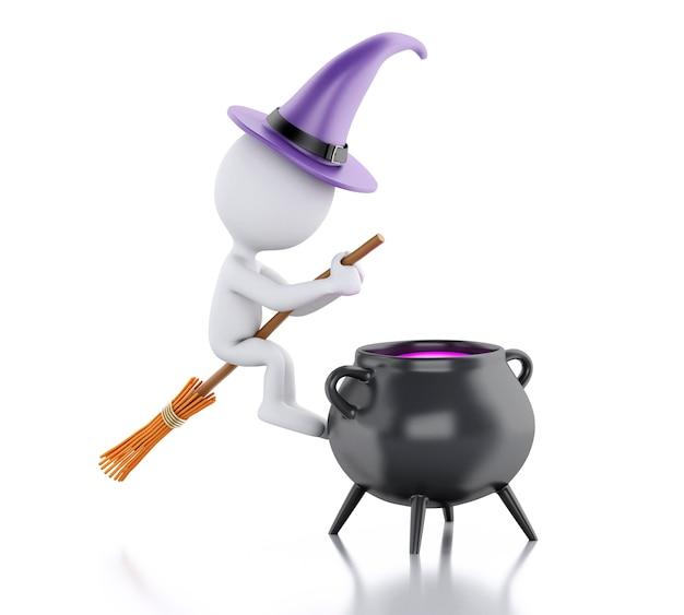 3d biali ludzie z kapeluszem czarownicy, miotłą i garnkiem. koncepcja halloween.