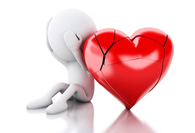 3d biali ludzie z sercem łamającym. koncepcja miłości.