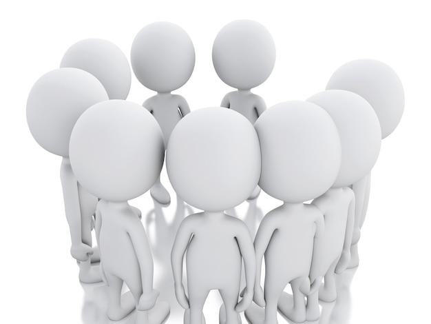 3d biały człowiek, dołączając do grupy osób w kręgu.