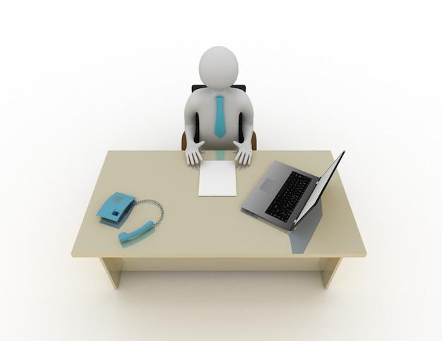 3d biały człowiek siedzący przy stole