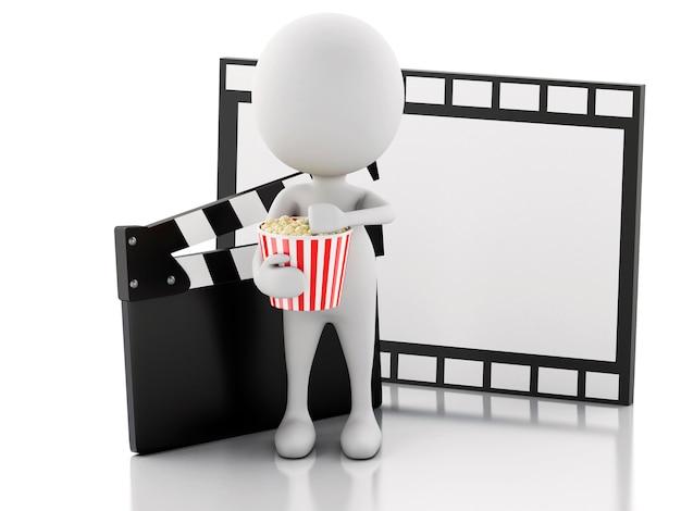 3d biały człowiek z kino klakier, popcorn i rolka filmu.