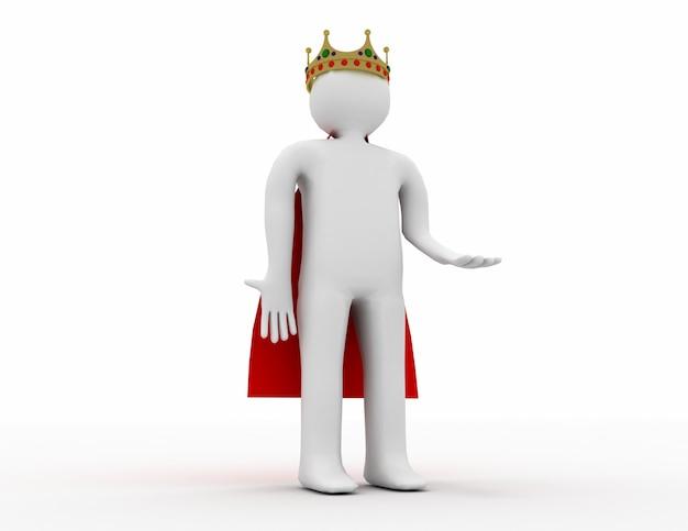 3d Biały Człowiek Z Koroną. 3d Renderowana Ilustracja Premium Zdjęcia