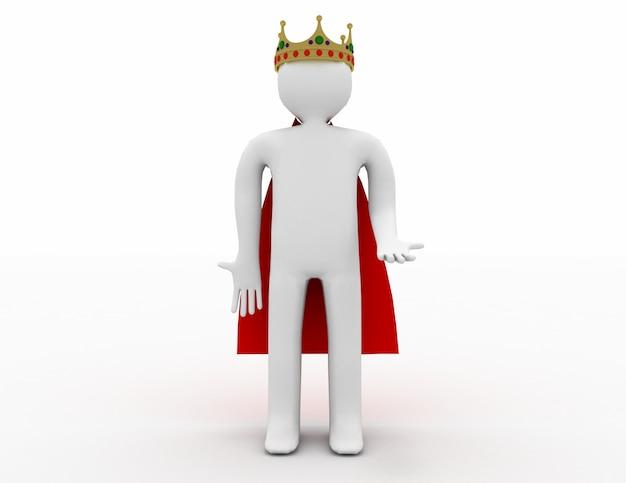 3d biały człowiek z koroną. 3d renderowana ilustracja