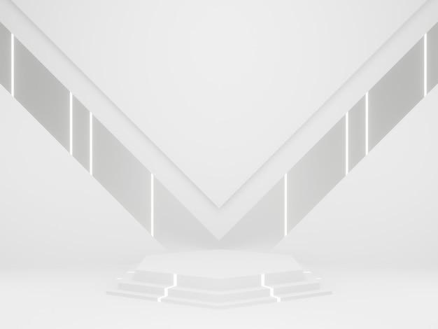 3d biały futurystyczny stojak na produkty z neonowym światłem