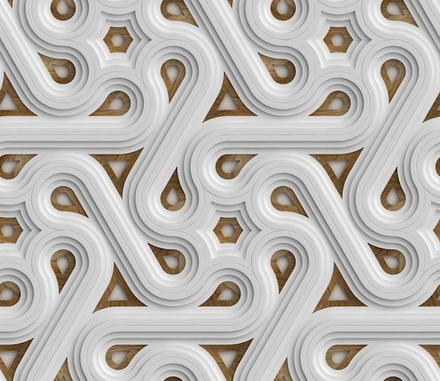3d biały futurystyczny wzór bez szwu składający się z niekończącego się paska z drewnianymi elementami.