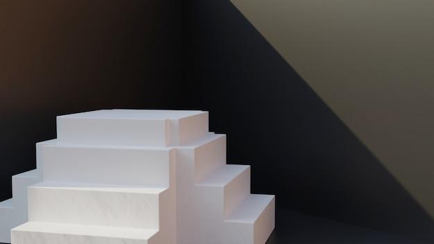 3d biały schodek z czerni ścianą