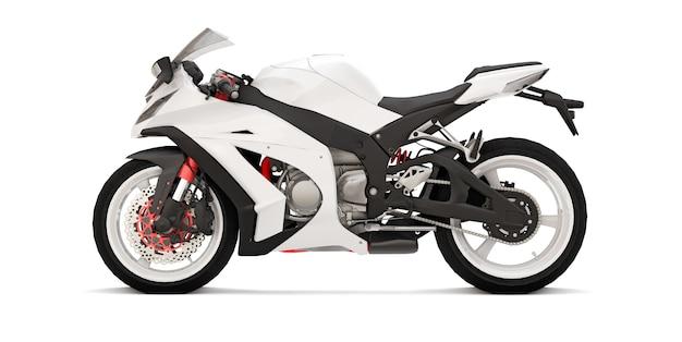 3d biały super sportowy motocykl na białej powierzchni na białym tle