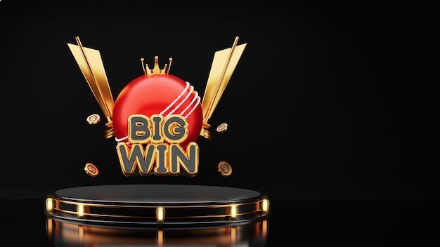 3d big win tekst z czerwoną piłkę do krykieta, złotą koronę, puchary trofeum i monety dolarowe na czarnym tle.