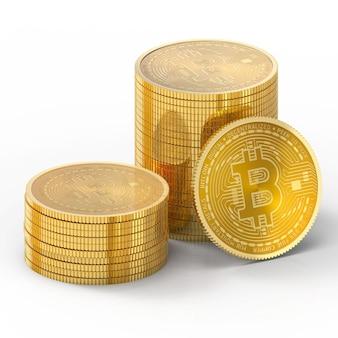 3d bitcoin na białym tle na białym tle ze ścieżką przycinającą.